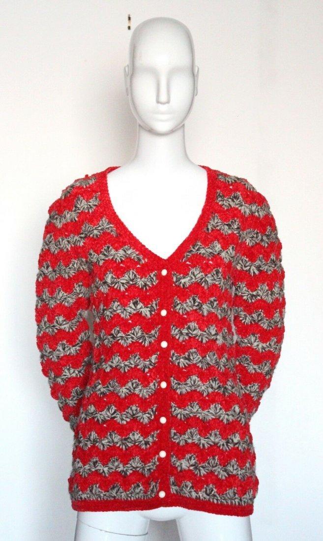Yves Saint Laurent Red & Brown Knit Cardigan, ca.1973