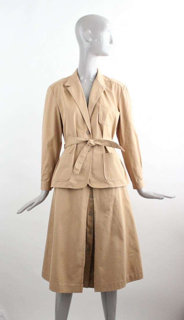 Saint Laurent Rive Gauche Khaki Safari Suit, 1970's