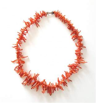 Natural Coral Branch Necklace ca1980s