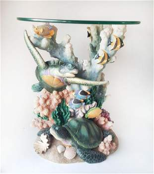 Jaimy Signed Cast Resin Aquatic Side Table