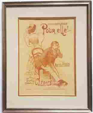 Pour Elle Art Nouveau Lithograph Sheet Music Cover 1895