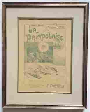 La Paimpolaise Art Nouveau Lithograph Sheet Music Cover