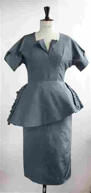 Freidman Sisters New York Couture Blue Silk Dress 1940s