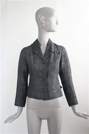 French Couture Gray Brocade Jacket, ca. 1950's