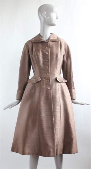 Sophie of Saks Couture Brown Silk Coat, ca. 1950s