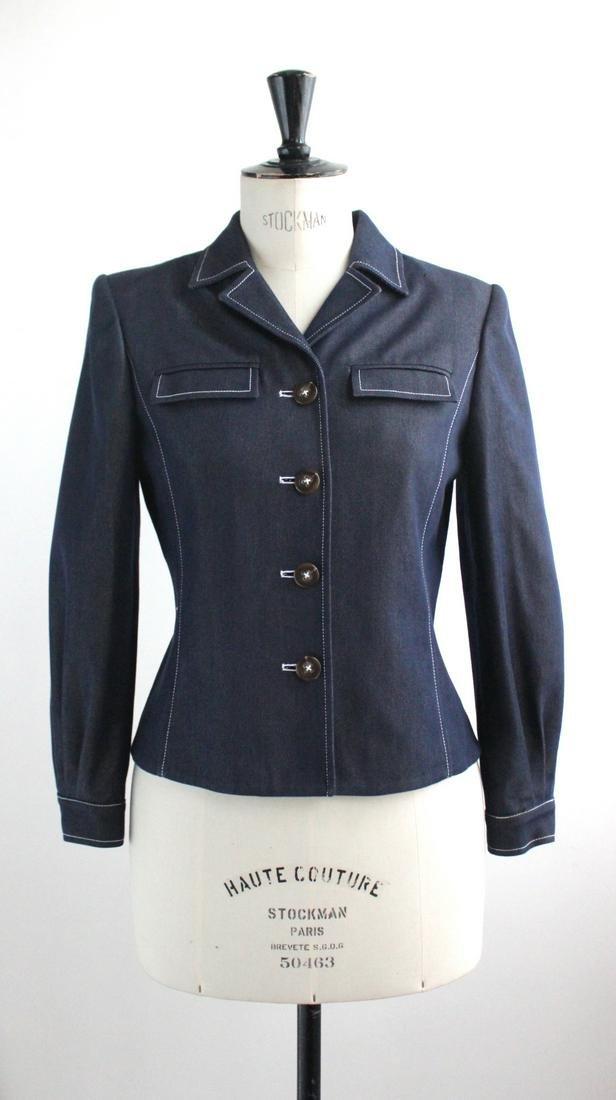 Oscar de la Renta Cotton & Silk Denim Jacket,