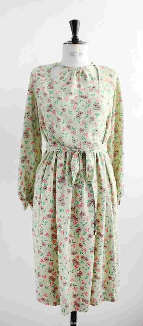 1940s Floral Print Cotton Dress