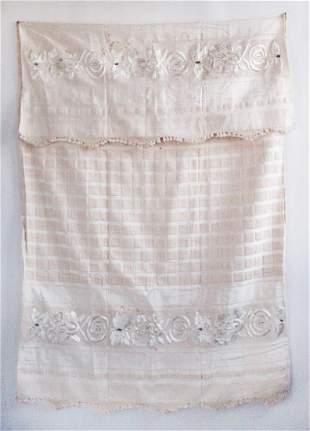 Antique Turkish Silk & Cotton Large Towel, ca. 19th c.