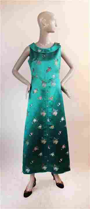 Chinese Silk Brocade Couture Dress ca 1960s