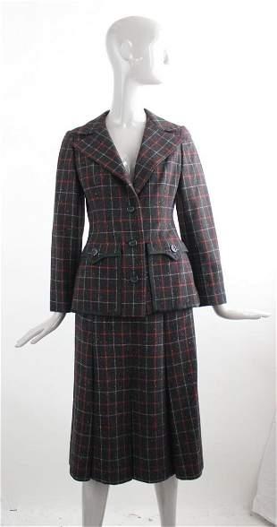Galanos Plaid Wool Suit 1970s