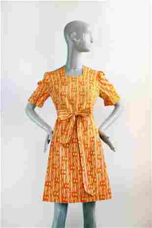 Custom Made Floral Cotton Dress ca 1970s