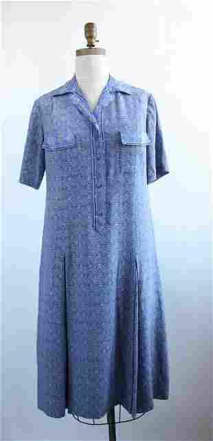 Cucci Fabienne Blue Printed Silk Dress 1970s