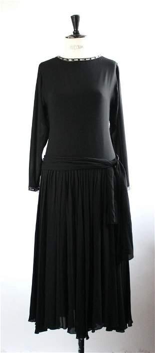 Jean Louis Scherrer Black Silk Dress ca 1970s
