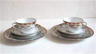 Antique Austria Porcelain Tea Cups with Dessert Plates