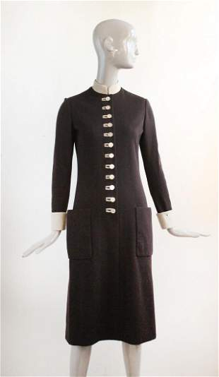 Norman Norell Brown Wool Dress FW 1971