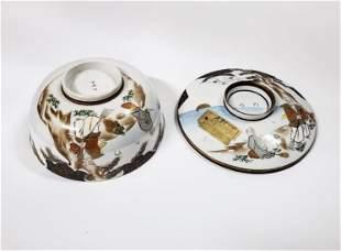 Antique Japanese Kutani Porcelain Bowl w Lid