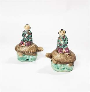 Pair of Chinese Porcelain Figures Riding Turtle