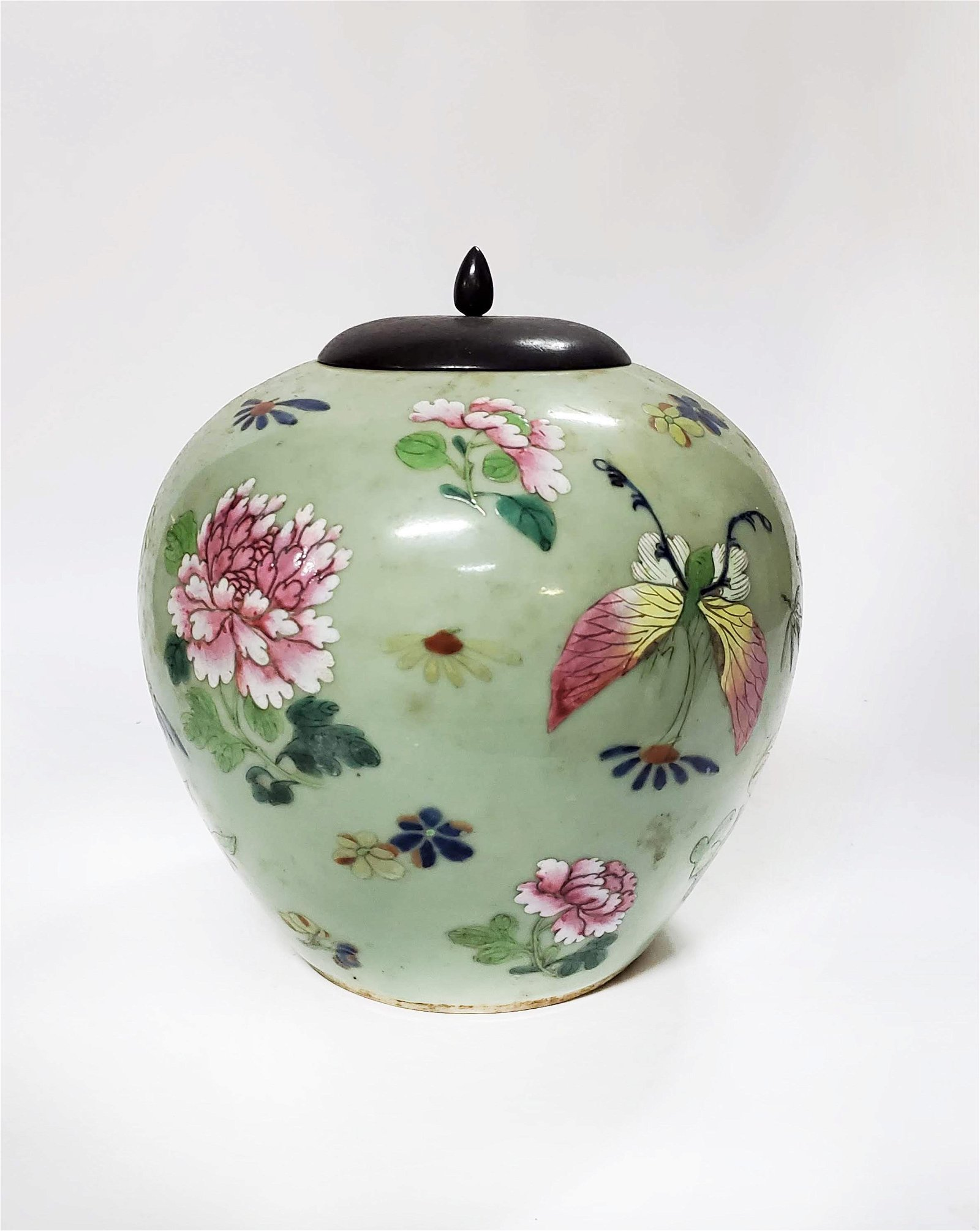 Chinese Canton Celadon Glazed Hand Painted Jar