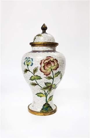 Antique Chinese White Cloisonne Jar