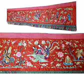 Antique Chinese Embroidered Large Banner