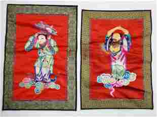 Pair of Chinese Embroidered Silk Figural Panels