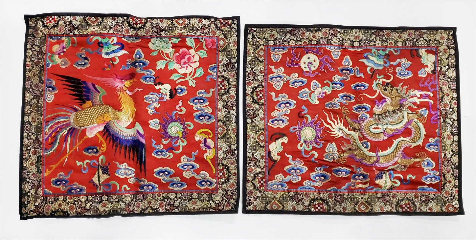 Antique Chinese Embroidered Silk Dragon & Phoenix