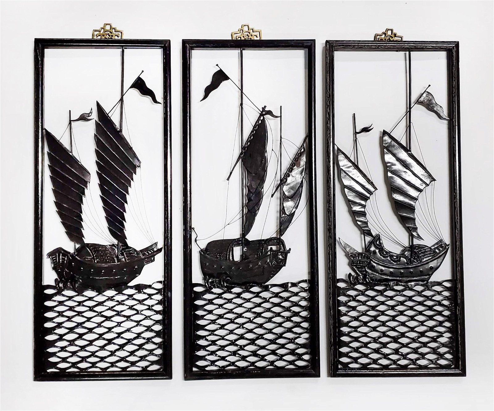 Chinese Metal Cut Out Ship Wall Hangings, ca. 1950s