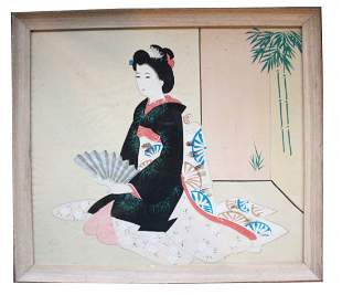 Japanese Silk Painting of a Geisha