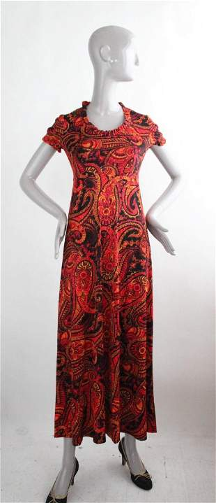 Paisley Print Jersey Dress ca1970s