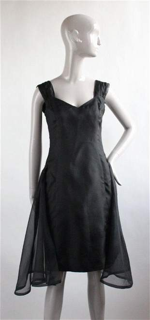 Janet Russo Black Silk Organza Dress 1990s