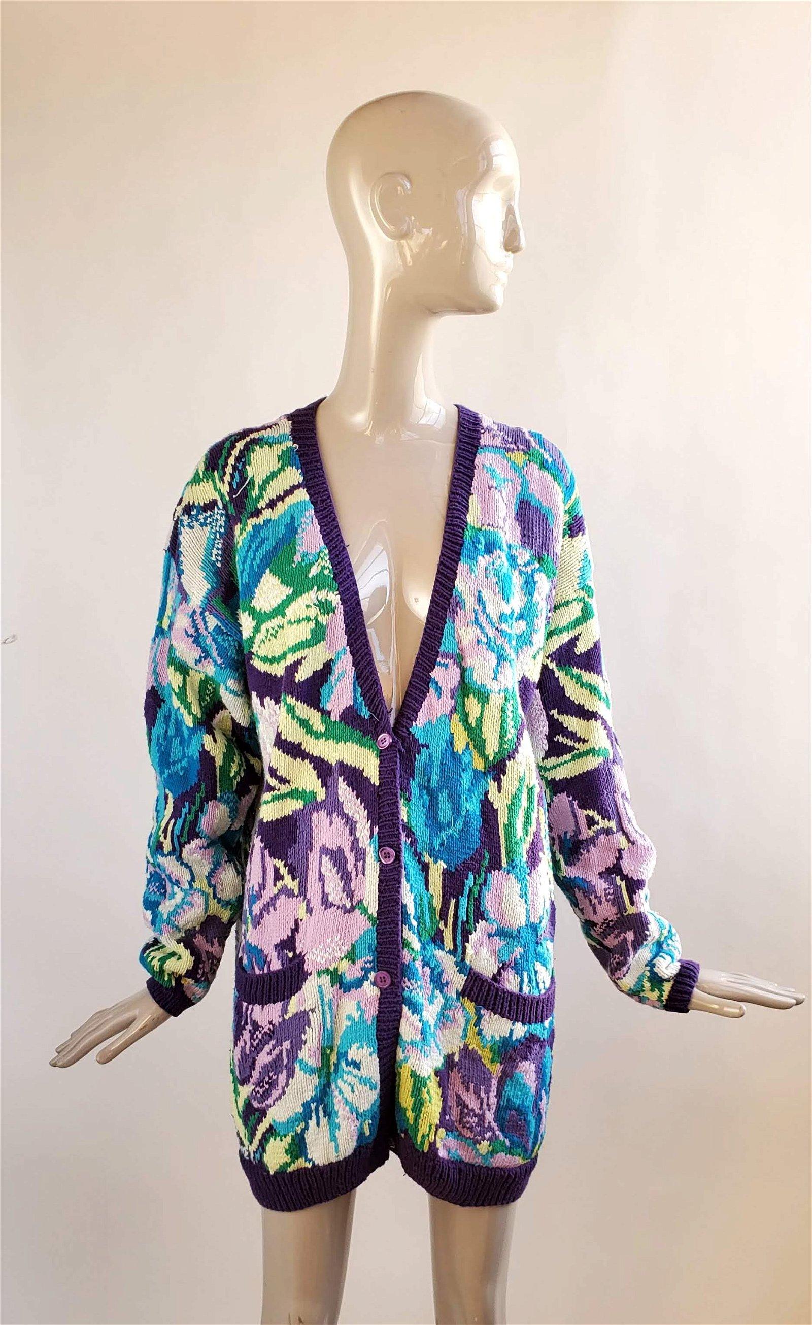 Kansai Yamamoto Floral Knit Cardigan, 1990s