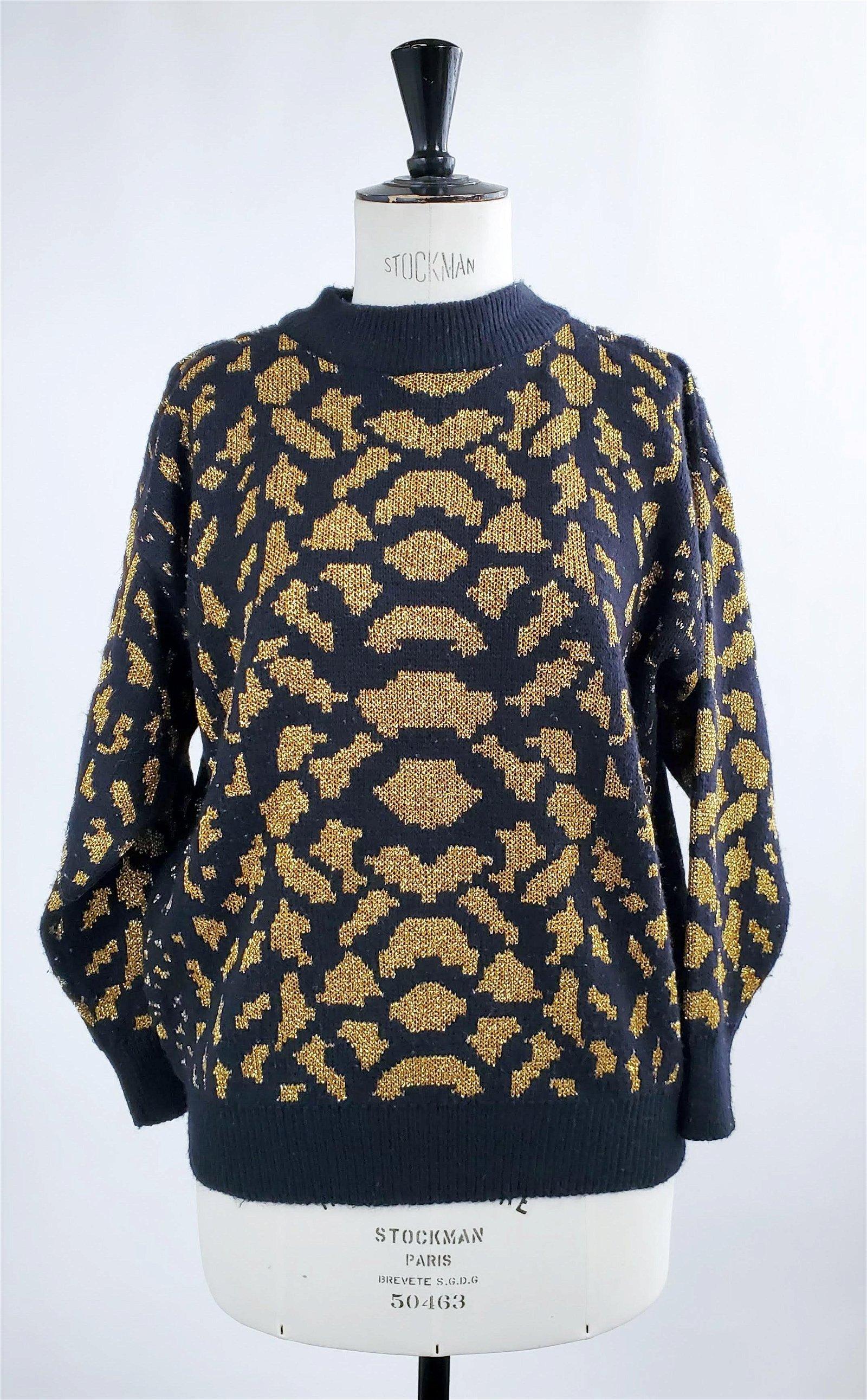 Kansai Yamamoto Black Wool & Gold Lurex Sweater, c1990s