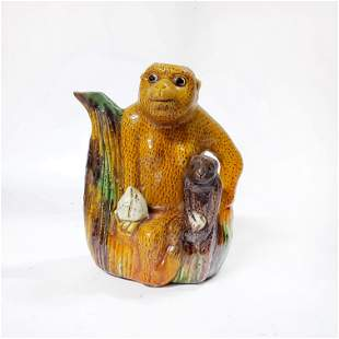 Antique Chinese Monkey Teapot, ca. 19th c.