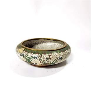 Chinese White Cloisonne Brush Bowl