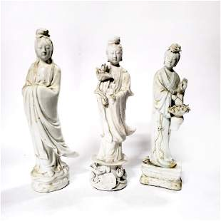 3 Chinese Blanc de Chine Figures