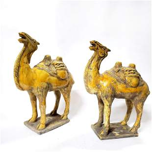 Pair of Tang Style Ceramic Camels, 20th c.