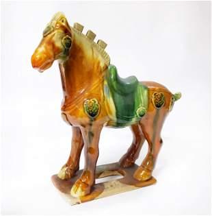 Chinese Tang Style Sincai Glazed Ceramic Horse