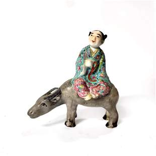 Chinese Famille Rose Figure Riding Buffalo 20th c