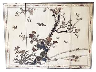 Antique Chinese Lacquered 4 pc Panel