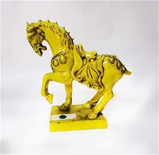 Chinese Tang Style Yellow Glazed Ceramic Horse
