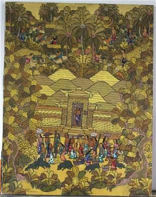Ribun Signed Balinese Art Painting ca 1970s