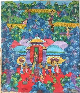 Marjana Signed Balinese Art Painting ca 1970s