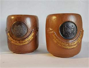 Arne Bang Signed 1942 Pair of Glazed Ceramic Vases