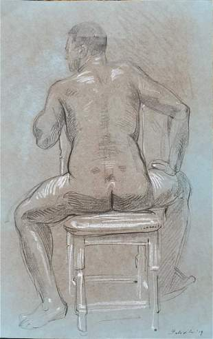 Original Felix dEon Drawing Seated Nude Male