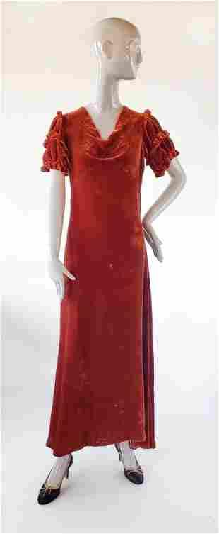 1930s Brown Velvet Dress