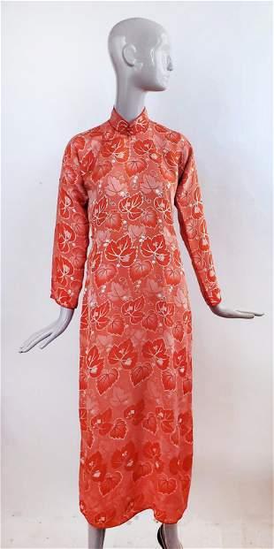 Chinese Silk Brocade Robe Dress, ca. 1940s
