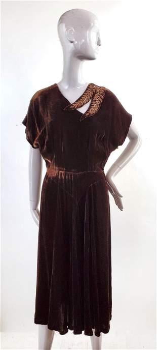 Grovine Creation New York Velvet Dress, 1940s