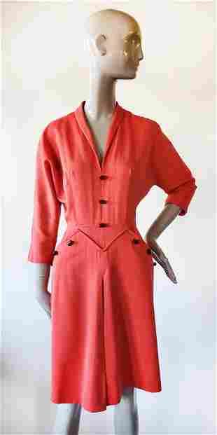 Vogue Special Design Coral Red Dress, ca. 1940s