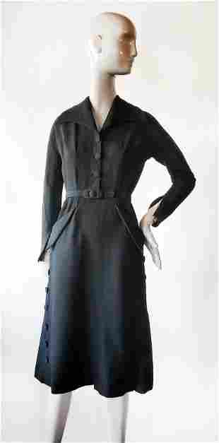 Maxane Paris Haute Couture Dress, ca. 1940s
