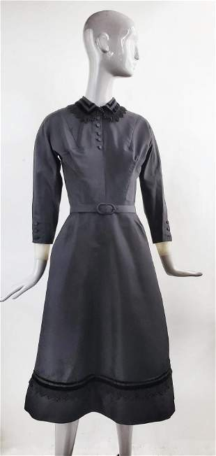 Harvey Berin Karen Stark Black Taffeta Dress, 1940s-50s